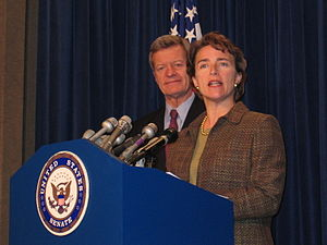 Blanche Lincoln - Lincoln holds a press conference in 2006 with Sen. Max Baucus (D-MT), chairman of the Senate Finance Committee regarding proposed changes to Medicare.