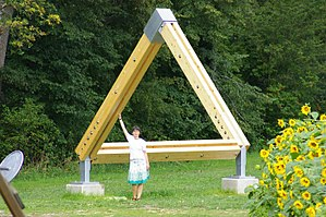 Penrose triangle - Impossible Triangle sculpture, Gotschuchen, Austria