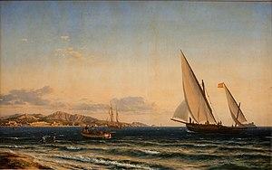 Emanuel Larsen - Emanuel Larsen: Aften ved Middelhavet. I baggrunden Marseille og øen If (1854)