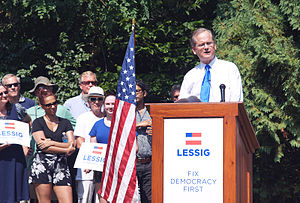Lawrence Lessig presidential campaign, 2016 - Lawrence Lessig launching his presidential campaign Sept. 9, 2015 in Claremont, NH.