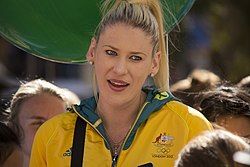 Lauren Jackson at the Welcome Home parade in Sydney