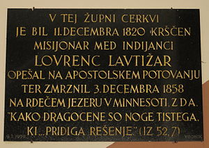 Lovrenc Lavtižar - Plaque commemorating Lavtižar in Assumption Church, Kranjska Gora
