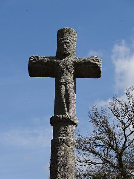 Le Mesnil-Benoist, croisillon avec représentation du Christ de la croix de chemin  au lieu-dit le Diguet