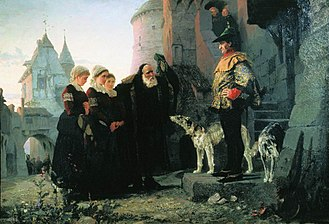 Droit du seigneur - Vasily Polenov: Le droit du Seigneur (1874). A nineteenth-century artist's painting of an old man bringing his young daughters to their feudal lord.