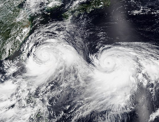 The 2019 Pacific typhoon season featured two simultaneous named storms. Visible in the image is Lekima (left) and Krosa (right) on August 8 Lekima and Krosa 2019-08-08 0505Z.jpg