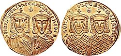 Gold coin of Emperor Leo IV the Khazar (r. 775-780), also depicting his son and co-emperor Constantine VI, as well as the Isaurian dynasty's founders Leo III and Constantine V. Leo iv constantine vi coin.jpg