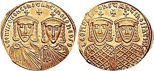 Byzantine Empire under the Isaurian dynasty - The emperors of the Isaurian Dynasty on a gold solidus from ca. 775–780. Leo IV with his son Constantine VI on the obverse, Leo III with his son Constantine V on the reverse