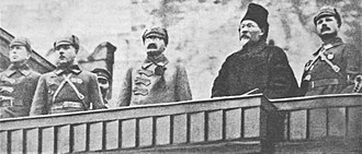 Mikhail Frunze - From left Andrei Bubnov, Kliment Voroshilov, Leon Trotsky, Mikhail Kalinin and Mikhail Frunze attend The October Revolution parade on Red Square 7 November 1924.