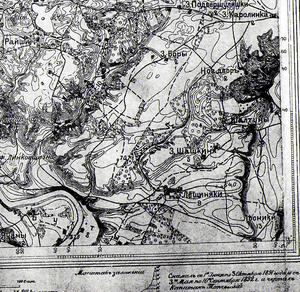 Lazdynai - 1893 map of the area from the Russian Empire