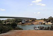 Cross-border bridge from Guyana to Brazil under construction near Lethem.