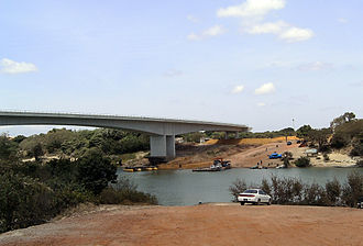 Construction continues on a bridge linking Guyana and Brazil at Lethem. LethemBridge.jpg