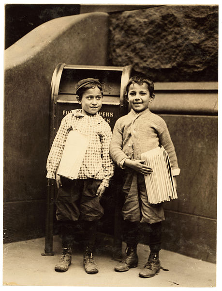 File:Lewis Hine, Willie Cohen and Max Rafalovizht, 8 years of age, newsboys, Philadelphia, 1910.jpg