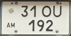 Vehicle registration plates of Armenia - A two-row variant of the license plate.