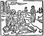 Lidwina's fall, a 1498 woodcut.