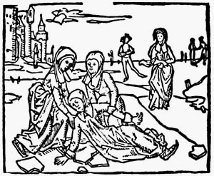 Lidwina - Lidwina's fall on the ice, Wood drawing from the 1498 edition of John Brugman's Vita of Lidwina