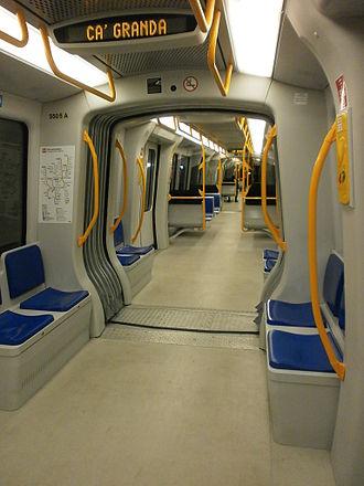 Milan Metro Line 5 - Ansaldobreda driverless train in service in Milan.