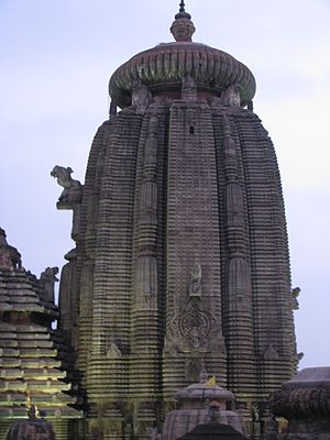 Shikhara - Homogeneous Shikhara (but with rathas) of the Lingaraja Temple in Bhubaneswar