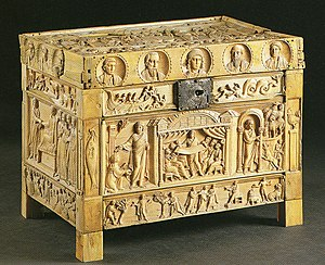 Franks Casket - The Brescia Casket, one of the best survivals of the sort of Late Antique models the Franks Casket emulates. Late 4th century