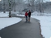 Little Sugar Creek Greenway near Brandywine Road in winter, Charlotte, NC