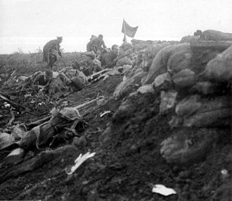 Liverpool Scottish - Battle of Hooge, 16 June 1915. In the background, an artillery marker has been planted atop the parapet to signal to the artillery that the line had been secured.