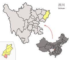 Location of Dazhu within Sichuan (China).png