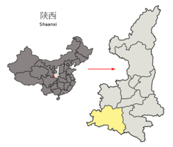 Location of Hanzhong City jurisdiction in Shaanxi