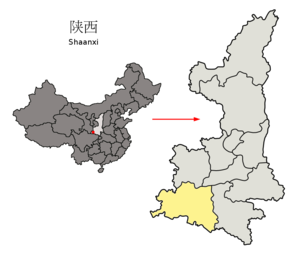 Location of Hanzhong Prefecture within Shaanxi (China).png