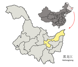 Location of Jiamusi City (yellow) in Heilongjiang (light grey)