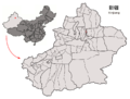 Location of Wujiaqu within Xinjiang (China).png