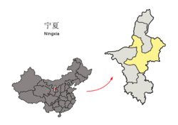 Location of Wuzhong City jurisdiction in Ningxia