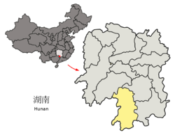 Location of Yongzhou City jurisdiction in Hunan