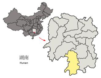 Yongzhou - Image: Location of Yongzhou Prefecture within Hunan (China)