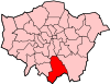 Location of the London Borough of Croydon in Greater London