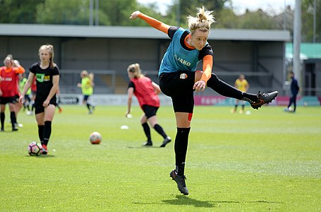 Jo Wilson during warm-ups before London Bees v Millwall Lionesses match on 15 April 2017