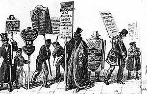 Human billboard - An artistic depiction of human billboards in 19th century London, by George Scharf.