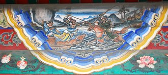 Battle of Fancheng - Depiction of Guan Yu attacking soldiers on boats in the Han River.