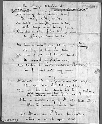 """The Village Blacksmith - First page of the original manuscript for """"The Village Blacksmith"""""""