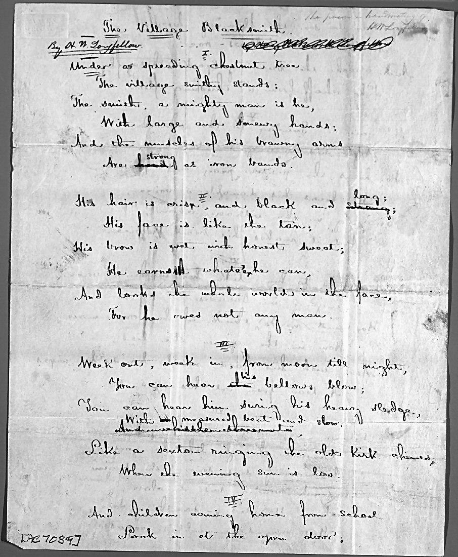 Longfellow Village Blacksmith (manuscript 1)