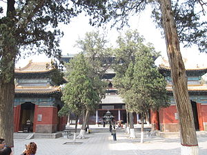 Longxing Temple (Zhengding) - The Hall of Great Benevolence flanked by two pavilions holding stelae