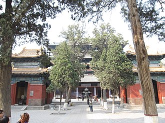 Longxing Temple - The Hall of Great Benevolence flanked by two pavilions holding stelae