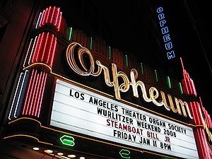 Orpheum Theatre (Los Angeles) - The Orpheum Theatre marquee