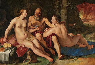 Hendrik Goltzius - Lot and his daughters (1616) in the collection of the Rijksmuseum