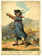 The Leader of the luddites, engraving of 1812