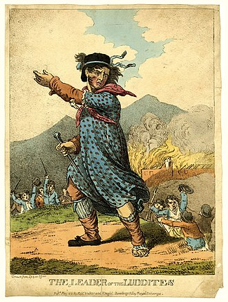 Technophobia - The Leader of the Luddites, engraving of 1812