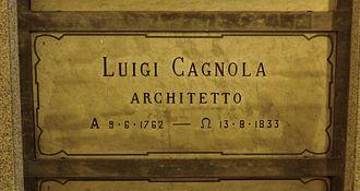 Luigi Cagnola - Cagnola's grave at the Monumental Cemetery of Milan, Italy