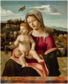MADONNA AND CHILD IN AN EXTENSIVE LANDSCAPE WITH A HILL TOWN, A GOLDFINCH FLYING ABOVE.png