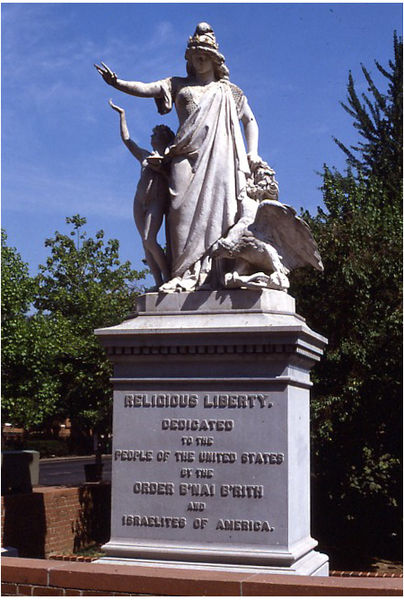 """Religious Liberty (1876),"" by Moses Jacob Ezekiel, near the National Museum of American Jewish History, Philadelphia"
