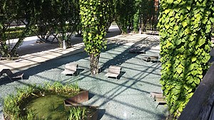MFO-Park - Sunken area with recycled glass floor