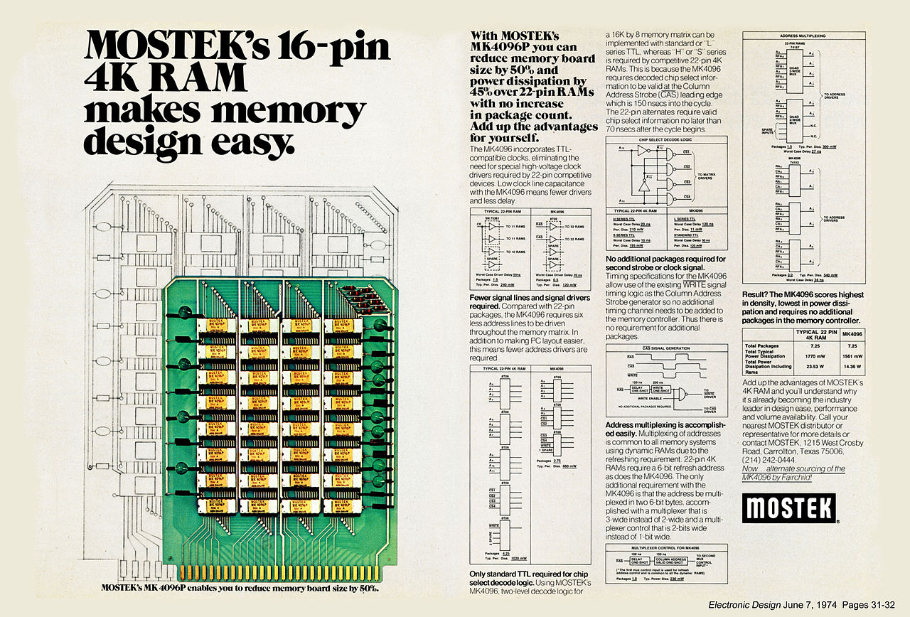 File:MOSTEK 4K RAM June 1974 jpg - Wikimedia Commons