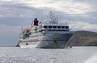 A cruise ship in the Falkland Islands